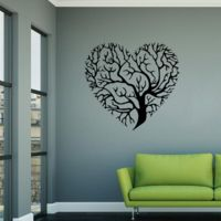 Sticker Arbre De Vie En Forme De Coeur Noir 11 05 Decoration Mur Stickers Muraux Decoration Murale