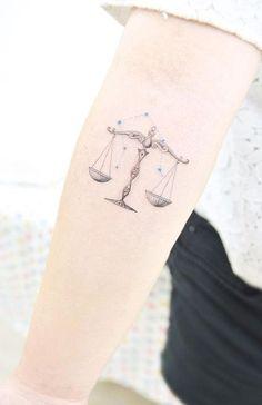 libra zodiac tattoo on arm