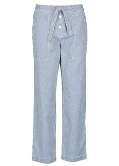 Pantalon ample boutonné rayé en jean Bleu by ATHE-VANESSA BRUNO