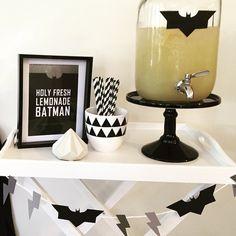 Batman drinks stand fresh lemonade  black cake stand  from #robertgordonaustralia #sugarcoatedmama Sydney, Australia