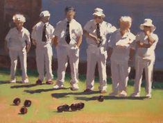 """Daily Paintworks - """"STATE of PLAY - Lawn Bowls"""" - Original Fine Art for Sale - © Helen Cooper"""