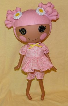 Lalaloopsy doll clothes PDF sewing patterns, set of 2 cute outfits including summer and winter pjs