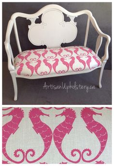 Antique Bench with Seahorses