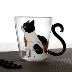 Hot sale products cat shaped drinking glass cup heat-resistant glass coffee mugs Cat Coffee Mug, Cat Mug, Glass Coffee Cups, Tea Cups, Kitten Cartoon, Heat Resistant Glass, Stained Glass Designs, Ceramic Painting, Cat Gifts