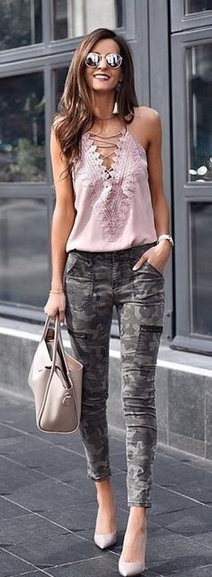 #spring #outfits woman in pink sleeveless top and gray camouflage pants. Pic by @liketoknow.it