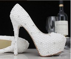 59.50$  Buy now - http://aliaqz.worldwells.pw/go.php?t=32775982288 - Wedding shoes TG505 high-heeled pearls crystal wedding shoes womens round toe high-heeled pearl diamond luxury banquet shoes