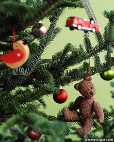 Hanging old toys on the Christmas tree spreads joy: Mom will be pleased to have less clutter, and the toys will be happy to be rescued from their dusty corners.