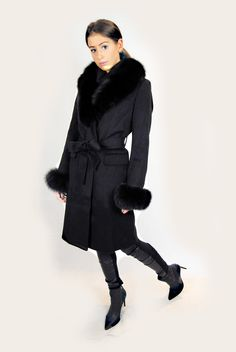 JESSIMARA BLACK LONG WOOL & BLUE FOX COAT