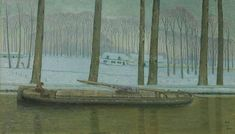 A Barge in the Willebroek Canal William Degouve de Nuncques - 1909 Macabre, Belgium, Netherlands, Oil On Canvas, Photo Wall, Museum, Community, Winter, Artist