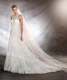 Low-Waist Bohemian A-line Wedding Dress - 33 Trendiest A Line Wedding Dresses - EverAfterGuide