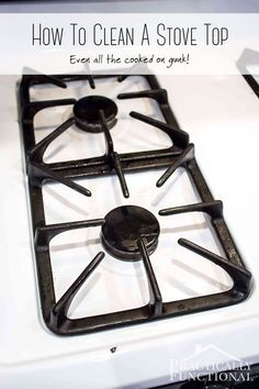 #Learn how to #clean a #stove top with hydrogen peroxide and baking soda; even the cooked on gunk comes off with a little scrubbing!