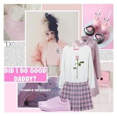 """""""Someone told me stay away from things that aren't yours, But was he yours, if he wanted me so bad?"""" by isabeldizova ❤ liked on Polyvore featuring Balmain, Urban Outfitters, Alberta Ferretti, Pink, music, pastel and melaniemartinez"""