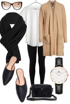 From my Stylebook Looks; long haul flight outfit including Daniel Wellington watch, Madewell Remi mules, and Alma Knitwear Dominique oversized wool scarf