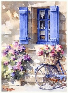 Watercolor Painting by Christian Graniou - Art Collection Bicycle Painting, The Dreamers, Carrie Bradshaw, Windows, Paisajes