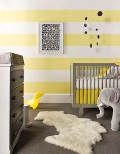 Yellow White Stripe Baby Decor