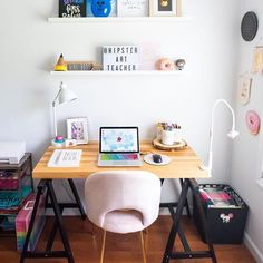 My office space! I've been waiting my whole life to have an office space to call my own This space contains all of my favorite things (can you spy the donuts + Disney !) thanks to the best fiancé ever for taking the best photos for me ✨ Girl Bedroom Designs, Girls Bedroom, Bedroom Decor, Lightbox Letters, My Cinema Lightbox, Office Decor, Office Ideas, Classroom Inspiration, Sweet Home