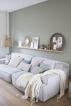 Living Room Green, Home Living Room, Interior Design Living Room, Living Room Designs, Interior Decorating, Living Room Wall Colors, Gray Interior, Living Room Inspiration, Blog Inspiration