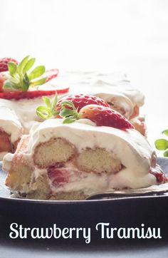 Strawberry Tiramisu,the perfect summer dessert, made with fresh strawberries, creamy mascarpone, and ladyfingers. No bake and delicious. via @https://it.pinterest.com/Italianinkitchn/