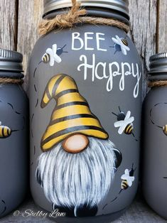 Bee Happy Gnome set of three Hand painted Mason jars Mason Jar Projects, Mason Jar Crafts, Mason Jar Diy, Bottle Crafts, Jar Art, Rock Painting Designs, Painted Mason Jars, Rock Crafts, Hand Painted