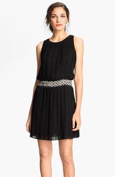 Eliza J Embellished Waist Pleated Mesh Blouson Dress | Nordstrom -- simple and elegant