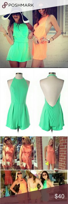 NWT LF Neon Green Halter Romper Playsuit Aus8 US4 Brand new with tags. Halter neckline. Open back. Bright neon green. Shown in various colors so you can see how it looks on different body types. Retailed for $164 at LF. By Mika & Gala. Size 8 (Aus), which is equivalent to 4 (US). I'm also selling the same romper in the same size in neon yellow.  Please check out my closet for more NWT LF items to bundle with discount and save more with combined shipping. LF Pants Jumpsuits & Rompers
