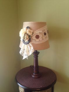 Handmade / Table Lamp / Home Decor / Cottage Chic / Rustic / Decorated Lamps  / · Burlap Lamp ShadesHandmade ...