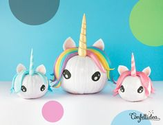 Magical Pumpkin Unicorns - Looking for original no carve DIY pumpkin decorating ideas? Use them for Halloween & Thanksgiving for an amazing fall decor. Home DIY for Fall holidays Diy Halloween Unicorn, Fete Halloween, Unicorn Crafts, Halloween Pumpkins, Halloween Crafts, Holiday Crafts, Halloween Decorations, Unicorn Diys, Pumpkin Decorations