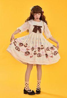 Summer Fairy -Doughnuts- Sweet Casual Lolita JSK Version I,Lolita Dresses, Cute Dresses, Vintage Dresses, Vintage Outfits, Cute Outfits, Princess Daisy Costume, Girls Petticoat, Lolita Cosplay, Tokyo Fashion, Fashion Poses