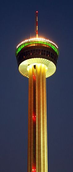 TOWER OF AMERICAS, San Antonio Texas It boasts, a glass elevator, two observation decks, a rotating Landrys restaurant and bar , a banquet room and meeting space, 4D thrill ride, café, snack bar, gift shop and views of San Antonio that are unrivaled.: