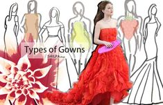 Types of gowns-for-different-body-shapes-styles-designs- Modest Dresses, Cheap Dresses, Types Of Gowns, Cruise Dress, Formal Dresses For Weddings, Bride Gowns, Fashion Articles, Couture Dresses, Body Shapes