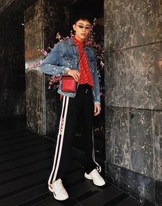 Get this look: http://lb.nu/look/8970166  More looks by MR.BRIAN SEE: http://lb.nu/mrbriansee  Items in this look:  Balenciaga Logo Shirt, Gucci Logo Trackpants, Gucci Logo Sneakers, Balenciaga Bag, Gentle Monster Poxi