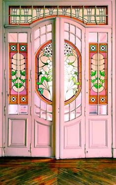 Pink door with stained glass