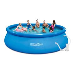 """Summer Waves 16' x 48"""" Quick Set Above Ground Swimming Pool with Filter Pump System And Deluxe Accessory Set"""