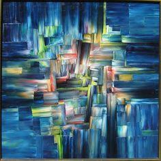 CITY LIGHTS Original Oil Painting 36 x 36 by John Robert Jurisich