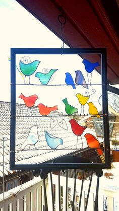 Stained Glass Birds, Stained Glass Projects, Stained Glass Patterns, Mosaic Glass, Glass Bottles, Picture Frames, Tiffany, Creativity, Wings