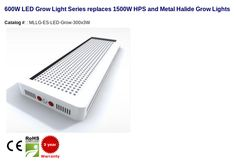 600W - Replaces 1200W HID Type: 600W LED Grow Light replaces 1500W HPS and MH Grow Light Description: 270 3watt Epistar 660nm red and 30 3watt bridgelux 455nm blue Optional Spectrums Available 30, 60 and 90 degrees lensing available Lighting Control: Switch Control Warranty: 3 years Hobby growing • Greenhouses • Horticultural park • Plant-breeding house Catalog #: MLLG-ES-LED-Grow-300x3W #LED #LEDLighting