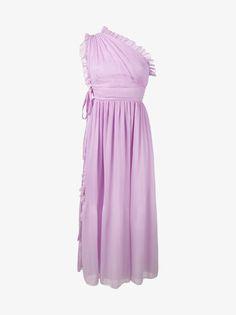 Rochas Pleated Ruffle One-Shoulder Dress