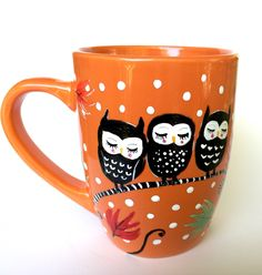 Fall Owl Coffee Mug -  https://www.etsy.com/listing/456398606/orange-owl-mug-fall-decor-hand-painted