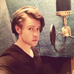 Chord Overstreet recording a song for Glee Season 6
