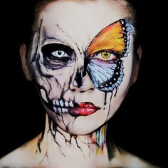 Halloween Make Up Inspirations Trend in 2018 - firstmine Skull Makeup, Sfx Makeup, Cosplay Makeup, Costume Makeup, Makeup Art, Makeup Ideas, Body Makeup, Sephora Makeup, Makeup Eyeshadow