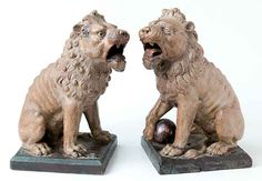 """Martin Brothers Pottery - Walter Fraser Martin (1857-1912) - Lion Statues. Modelled & Glazed Stoneware. Southall, Middlesex, England. Circa 1896 & 1897. 14-1/2""""."""