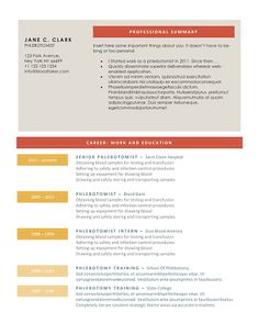 10 free phlebotomy resume templates to get you noticed now - Free Resume Assistance