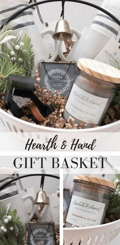Hearth and Hand Gift Basket- Gift Guide for the Farmhouse Decor Fan - Farmhouse on Boone Hearth and Hand Christmas Gift Basket Gift Idea for the Farmhouse Decor Lover on Your List Fall Gift Baskets, Christmas Gift Baskets, Basket Gift, Christmas Diy, Coffee Gift Baskets, Christmas Gift Guide, Christmas 2019, Handmade Christmas, Diy Holiday Gifts