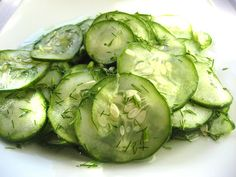 Finnish cucumber salad. Scott's mom makes this all the time (without the dill) and it's great!