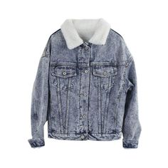 Retro Lambs Wool Lining Denim Coat (€53) ❤ liked on Polyvore featuring outerwear, coats, jackets, tops, retro coat and denim coat