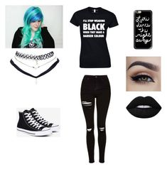 """emo/black"" by youtubekijkertj ❤ liked on Polyvore featuring Topshop, Converse, Casetify, Wet Seal and Lime Crime"
