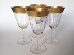 Gold Encrusted Crystal Glasses Hand Blown Antique by MoonRiverGirl, $50.00