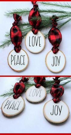 Red Buffalo Ornaments!  LOVE!  Plaid Christmas Ornaments - Buffalo Check decor - Modern Farmhouse Christmas decor - Peace Love Joy - Tall Print Text - Hand Lettered - Rustic Christmas gift idea - Wood Slice Gift #ad