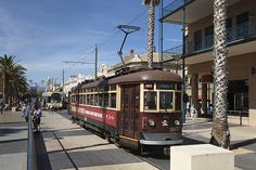 'Red rattler' tram from Adelaide to Mosely Square Glenelg Adelaide City South Australia Adelaide Sa, City Of Adelaide, Adelaide South Australia, Bnsf Railway, Australia Tourism, City Icon, Light Rail, Largest Countries, Walkabout