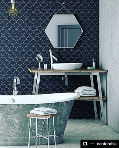 """It's all in the details. Loving this gorgeous bathroom from  @centuratile. #decor #bathroom #tiletuesday #home #repost  Scale by Equipe. Wall: Scale Fan Black. 4""""x5"""". #CenturaTile"""